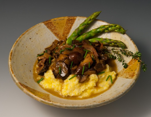 Polenta with Mushroom Topping - MaashaClay Pottery