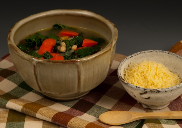 Soup with Potato, Carrot & Kale - Bowl by Steve Rolf