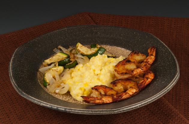 Cheesy Polenta with Shrimp - Plate by Mark Shapiro