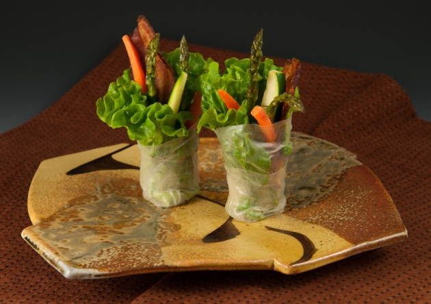Plate with Spring Rolls - by Marcia Paul