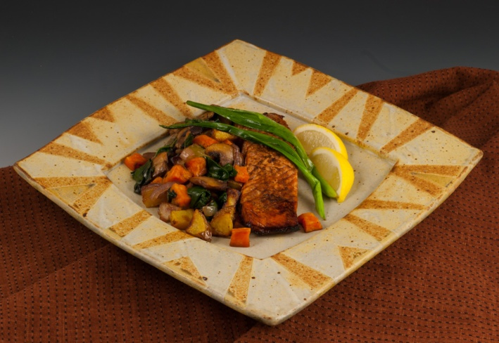 Salmon on Square Rimmed Plate - by MaashaClay Pottery
