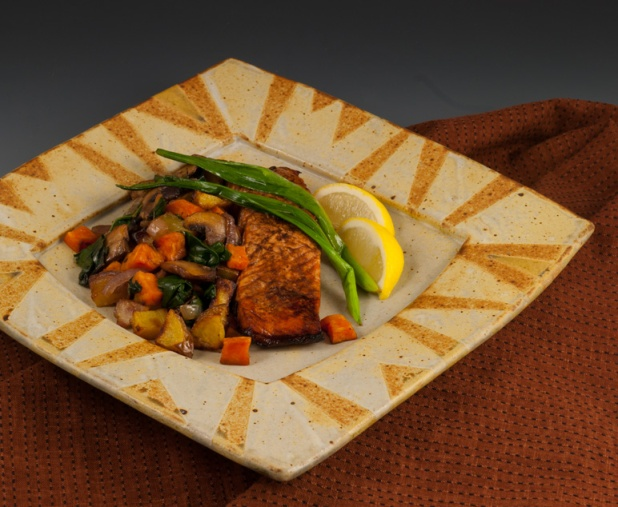 Salmon on Square-Rimmed Plate - MaashaClay Pottery