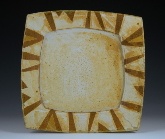 Square-Rimmed Platter - by Marcia Paul Pottery