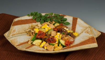 Scallop/Corn Pasta - Twist Plate by Marcia Paul Pottery