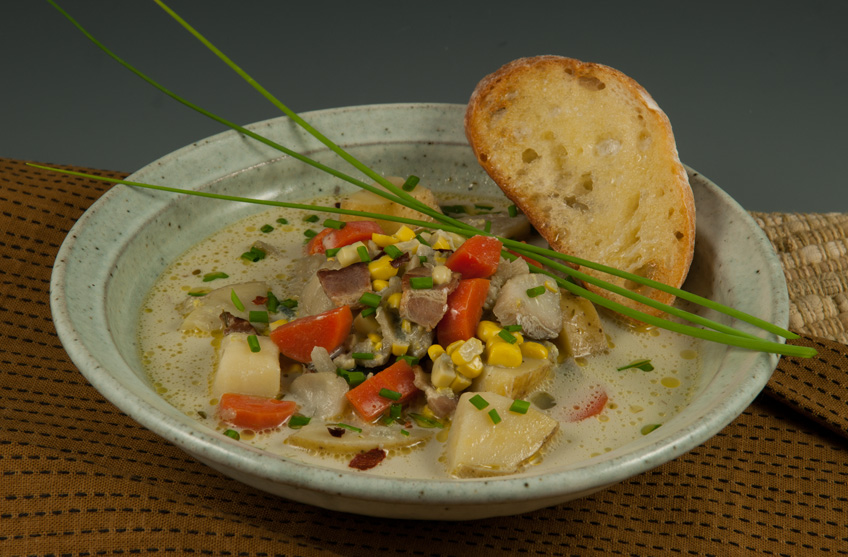 The Food — Seafood Chowder with Summer Corn:
